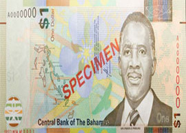Thumbnail image of the Bahamas one dollar banknote issued 2017.