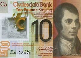 Thumbnail image of the Clydesdale Bank ten pound polymer banknote issued 2017.