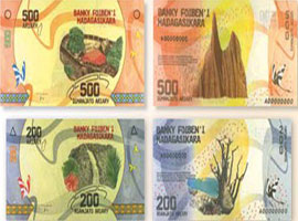 Thumbnail image of the latest Madagascan banknote family denominations.