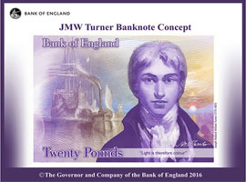 Image of the Bank of England concept £20 banknote design featuring JMW Turner.