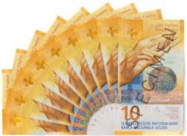 Image of a fan of new ten franc banknotes.