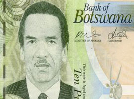 Thumbnail image of the Botswana 10 pula banknote.