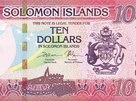 Thumbnail image of the new Solomon Islands $10 banknote issued 2017.