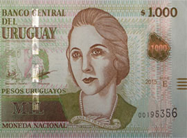 Thumbnail image of the upgraded 1000 Uruguay banknote