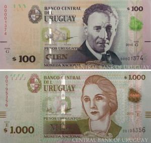 Image of the upgraded Uruguay 100 and 1,000 peso banknotes.