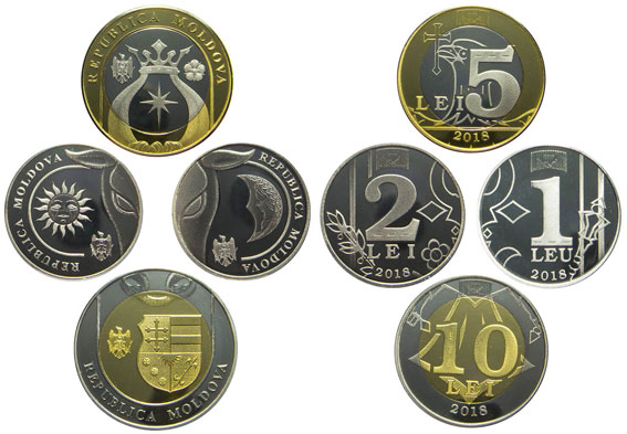 Image of the 2018 Moldova set of coins.