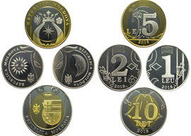 Thumbnail image of the 2018 Moldova set of coins.