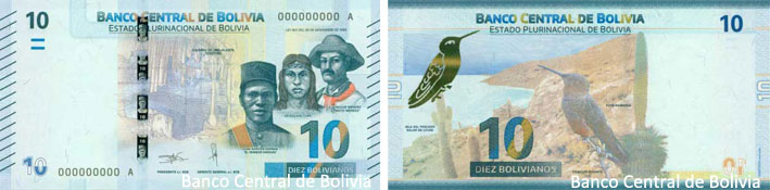 Image of the Bolivia 2018 Bs 10 banknote.
