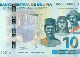 Thumbnail image of the Bolivia 10 2018 banknote.