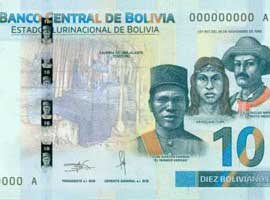 Thumbnail image of the Bolivia 10 2018 banknote.