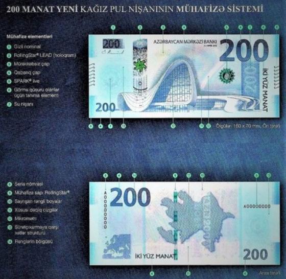Image of the Azerbaijan 200 manat banknote 2018.