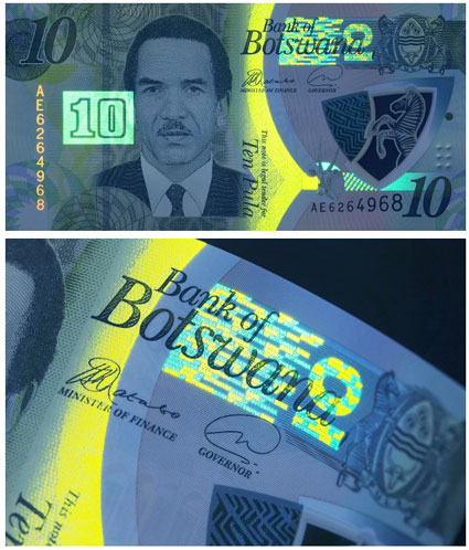 Image of the 2018 10-pula banknote featuring Gemini™ Microtext.