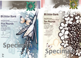 Thumbnail image of Ulster Bank's polymer £5 and £10 banknotes.