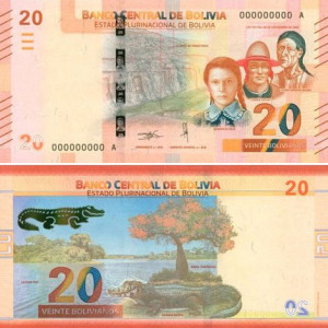 Image of the 2018 20 boliviano banknote from Bolivia.