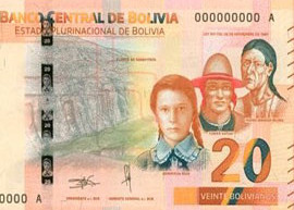 Thumbnail image of the 2018 20 boliviano banknote from Bolivia.