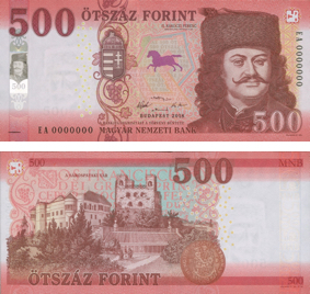 Image of the front and back of the soont o be issued 500 forint banknote.