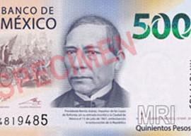 Thumbnail image of the 2018 500-pesos banknote.