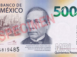 Thumbnail image of the 2018 500-pesos banknote.