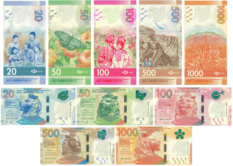 HSBC Hong Kong banknote series 2018.