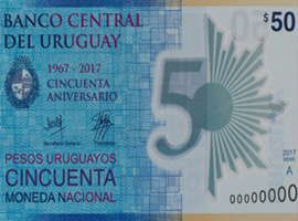 Thumbnail image of the Uruguay commemorative polymer 50 banknote 2018.