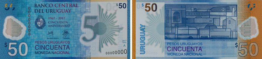 Uruguay commemorative polymer 50 banknote 2018.
