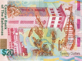 Thumbnail image of the Bahamas 20 dollar banknote issued 2018