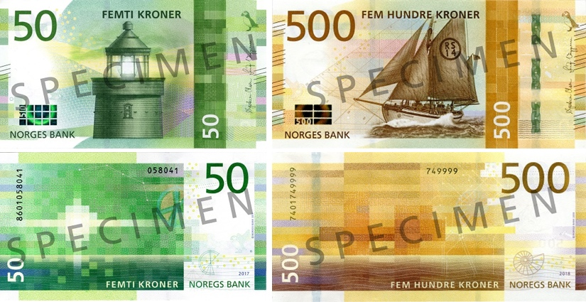 Image of Norway's Norges Bank 50 and 500 krone banknotes 2018.