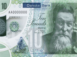 Thumbnail image of Northern Ireland Danske Bank £10 polymer banknote 2019.