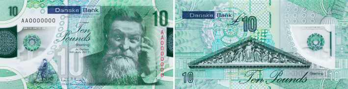 Image of Northern Ireland Danske Bank £10 polymer banknote 2019.