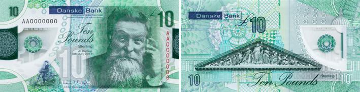 Image of Northern Ireland Danske Bank £10 polymer banknote 2019.