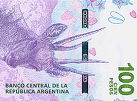 Thumbnail iImage of the 2018 Argentina 100 peso banknote.