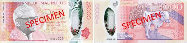 Image of Mauritius Rs2000 banknote printed on Safeguard polymer substrate.