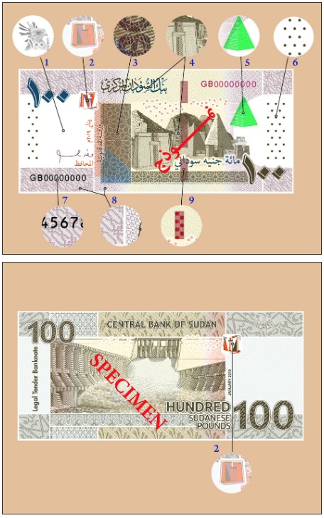 Image of the security features found on the Sudan 2019 one pound banknote.