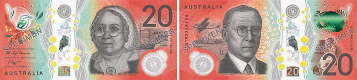 Image of the Australia Next Generation $20 banknote 2019.