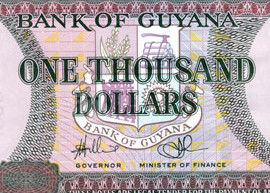 Thumbnail image of the Guyana 1000 banknote, 2011.