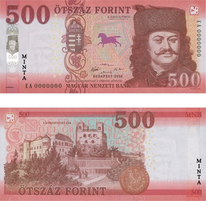 Image of the 2019 500-forint banknote.