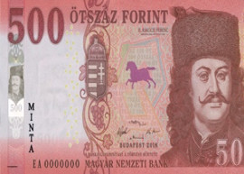 Thubnail image of the Hungary 500-forint banknote circulated 2019.