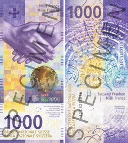 Image of the 2019 Swiss 1000-franc banknote.